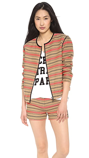 Scotch & Soda/Maison Scotch Striped Raffia Summer Bomber