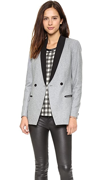Scotch & Soda/Maison Scotch Wool Blend Long Tuxedo Blazer