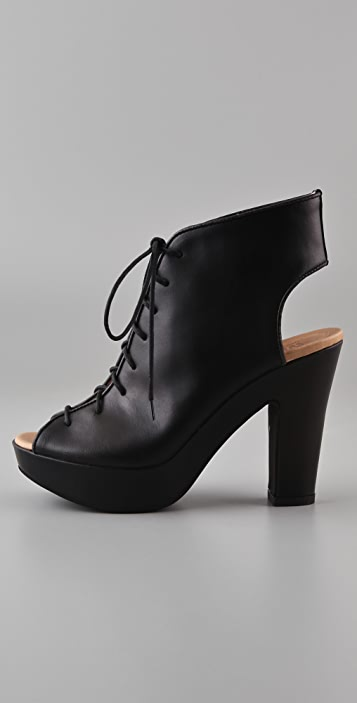 MM6 Open Toe Lace Up Booties