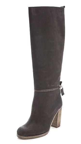 MM6 Unzipped High Heel Boots