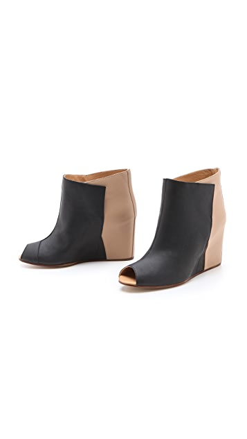 MM6 Open Toe Wedge Booties
