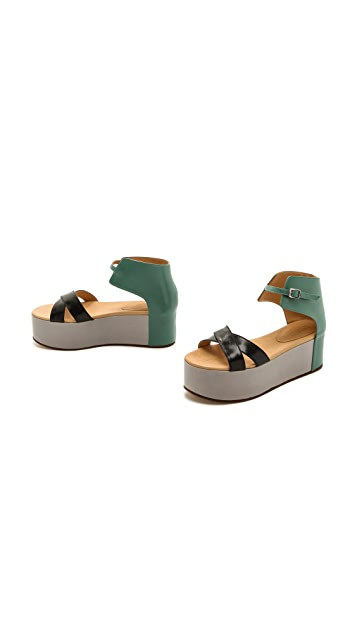 MM6 Colorblock Platform Sandals
