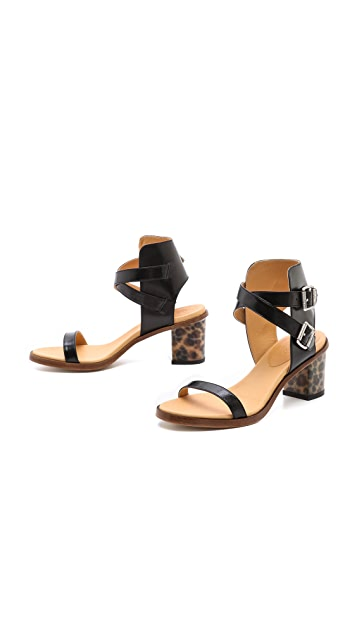 MM6 Leopard Heel Sandals