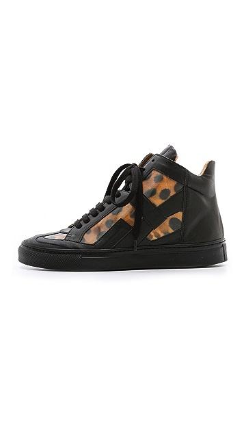 MM6 Leopard High Top Sneakers
