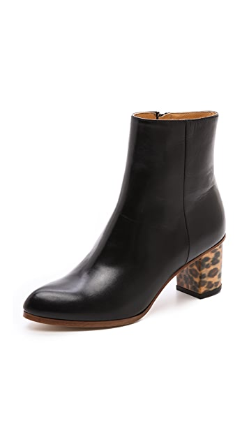 MM6 Leopard Heel Booties