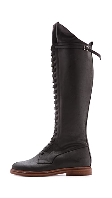 MM6 Flat Tall Lace Up Boots