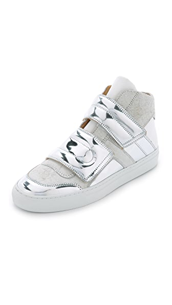 Shop MM6 online and buy Mm6 High Top Velcro Sneakers White-Silver-White dresses online