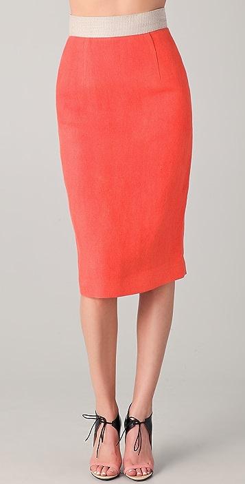 Michael Angel Contrast Pencil Skirt