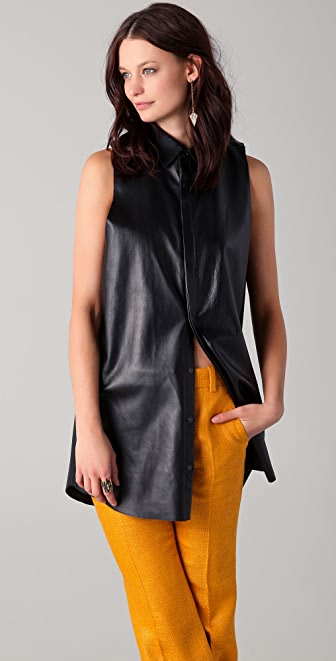 Michael Angel Sleeveless Leather Top with Gazar Collar