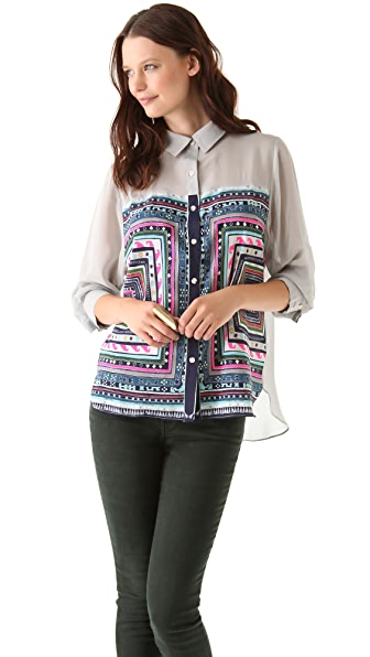 Mara Hoffman Button Down Combo Blouse