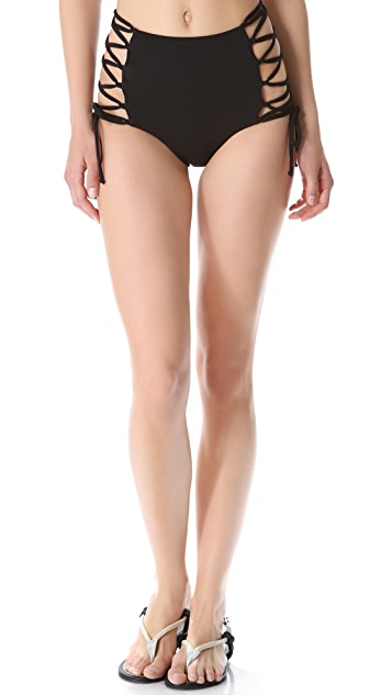 Mara Hoffman High Waisted Lace Up Bikini Bottoms