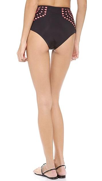Mara Hoffman Laser Cut High Waisted Bikini Bottoms