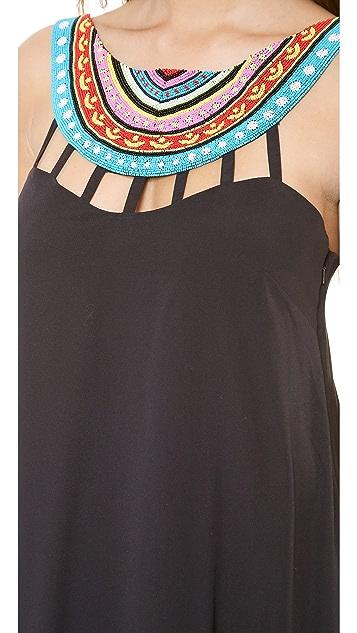 Mara Hoffman Laser Cut Beaded Neck Maxi Dress