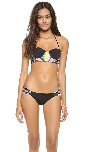Mara Hoffman Cosmic Fountain Embroidered Bustier Bikini Top