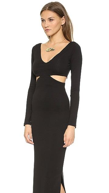 Mara Hoffman Deep V Side Cutout Gown