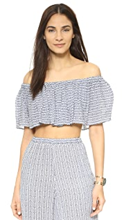 Mara Hoffman Off Shoulder Ruffle Crop Top