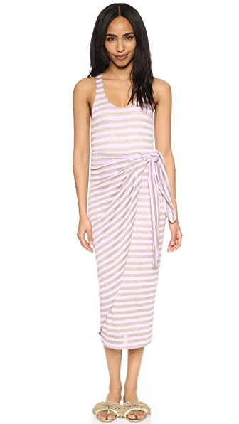 Mara Hoffman Gathered Linen Dress - Lavender Stripe