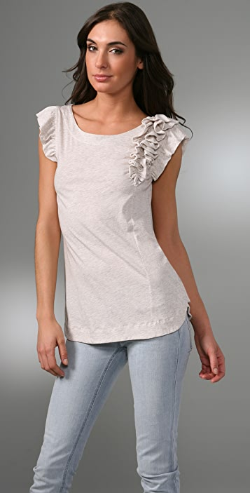 Marc by Marc Jacobs Feather Jersey Cap Sleeve Top