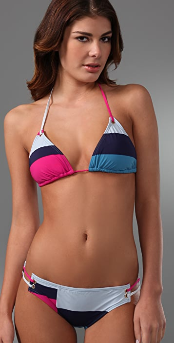Marc by Marc Jacobs Broken Stripe Triangle Bikini Top