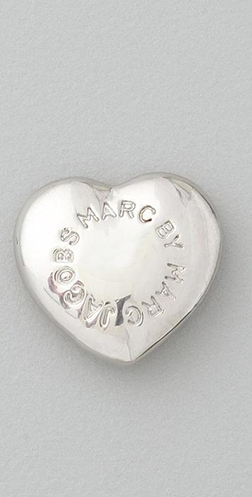 Marc by Marc Jacobs Domed Logo Heart Stud Earrings