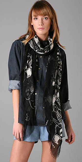Marc by Marc Jacobs 10th Anniversary Skull Scarf
