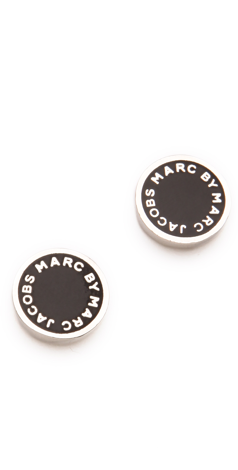 marc jacobs logo disc studs silver