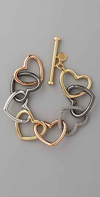 Marc by Marc Jacobs Love Edge Tumbled Pave Heart Bracelet