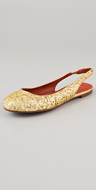 Marc by Marc Jacobs Sling Back Glitter Flats