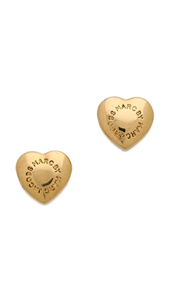 Marc by Marc Jacobs Logo Heart Stud Earrings