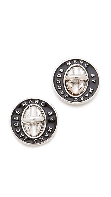 Marc by Marc Jacobs Turnlock Enamel Stud Earrings