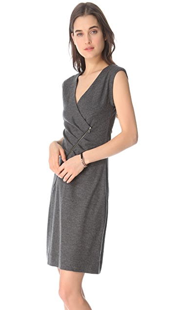 Marc by Marc Jacobs Fiona Wool Dress With Asymmetrical Zipper