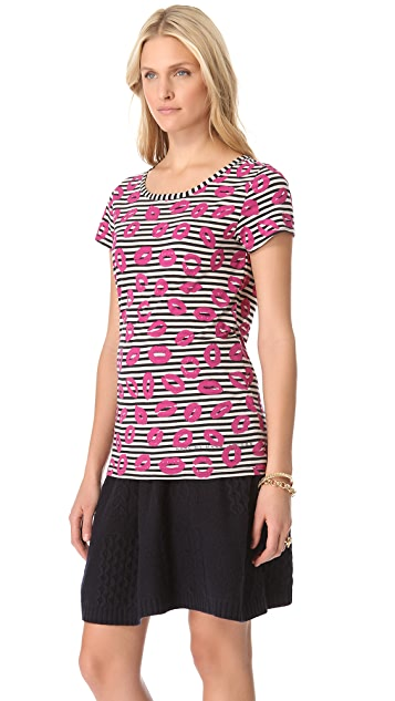 Marc by Marc Jacobs Stripey Lips Printed Tee