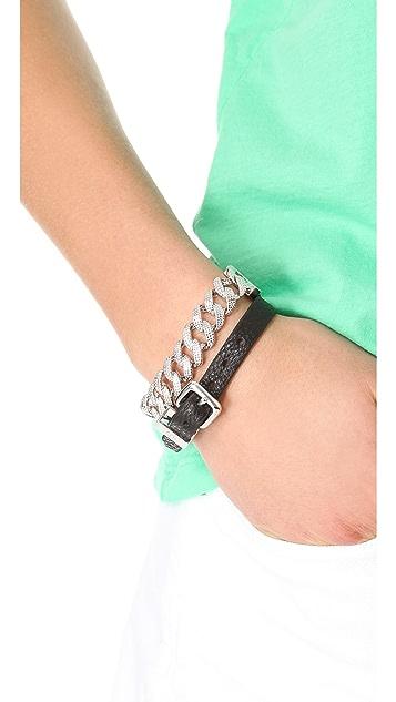 Marc by Marc Jacobs Leather & Chain Double Wrap Bracelet