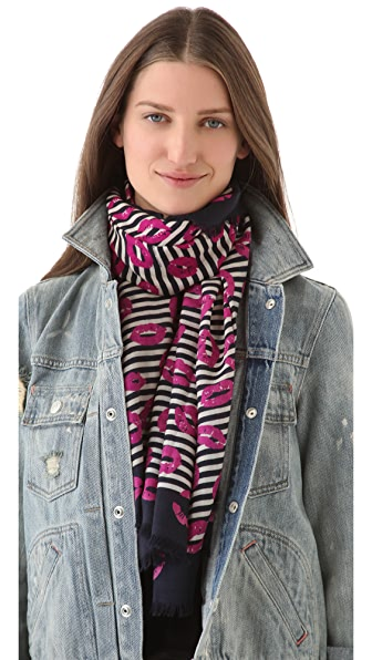 Marc by Marc Jacobs Stripey Lips Scarf