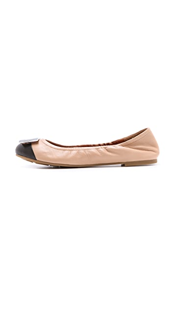 Marc by Marc Jacobs Bicolor Logo Plaque Flats