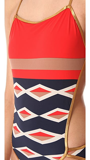 Marc by Marc Jacobs Hayley Stripe Cutout Maillot