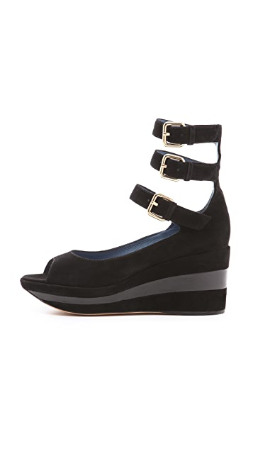 Marc by Marc Jacobs Striped Suede Wedge Platforms