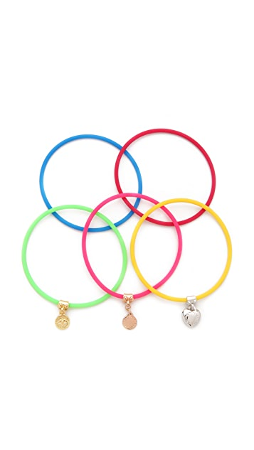 Marc by Marc Jacobs Set of 5 Skinny Rubber Bangles
