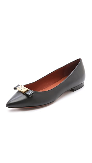Marc by Marc Jacobs Logo Plaque Flats with Pointed Toe