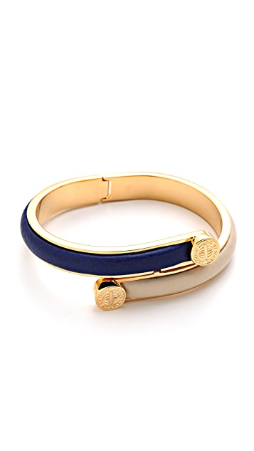 Marc by Marc Jacobs Engraved Turnlock Leather Bangle Bracelet