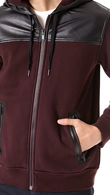 Marc by Marc Jacobs Thompson Hooded Sweatshirt with Leather