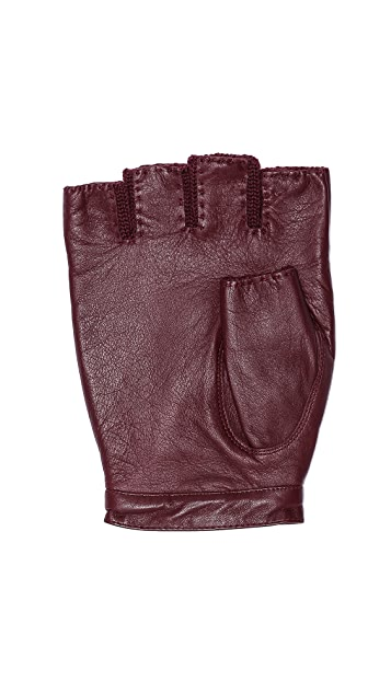 Marc by Marc Jacobs Leather/Knit Fingerless Gloves