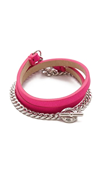 Marc by Marc Jacobs Triple Wrap Leather & Chain Bracelet