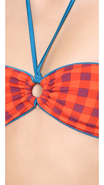 Marc by Marc Jacobs Janis Gingham Bandeau Bikini Top