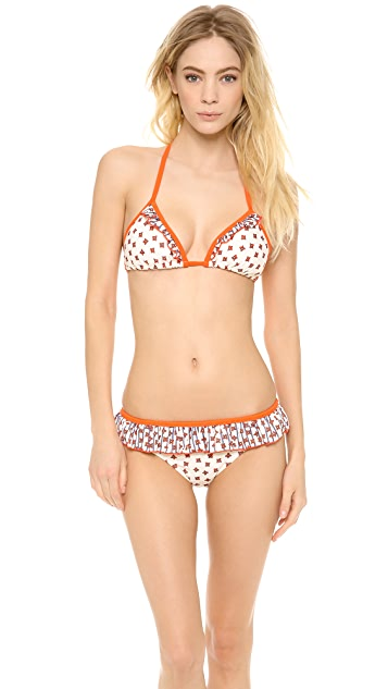 Marc by Marc Jacobs Chrissie's Floral Ruffle Triangle Bikini Top