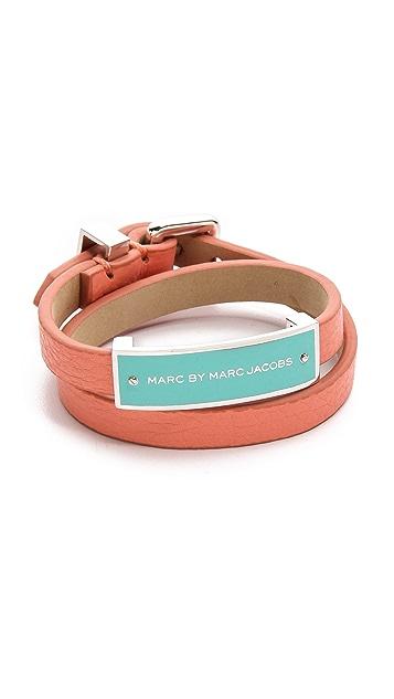 Marc by Marc Jacobs Enamel Plaque Doublewrap Leather Bracelet