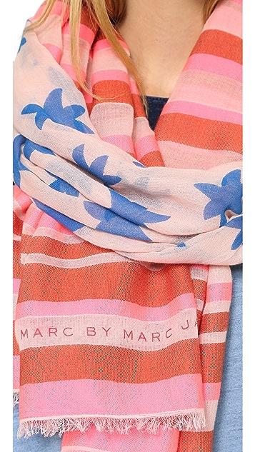 Marc by Marc Jacobs Palm Tree & Stripe Yarn Dye Scarf