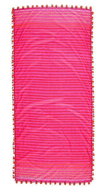 Marc by Marc Jacobs Pom Pom Stripe Snake Print Scarf