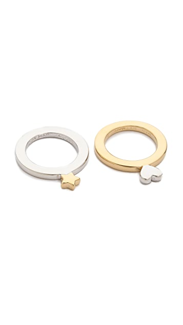 Marc by Marc Jacobs Flat Star & Heart Ring Set