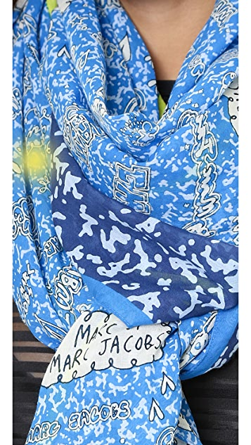 Marc by Marc Jacobs Doodle Notebook Scarf